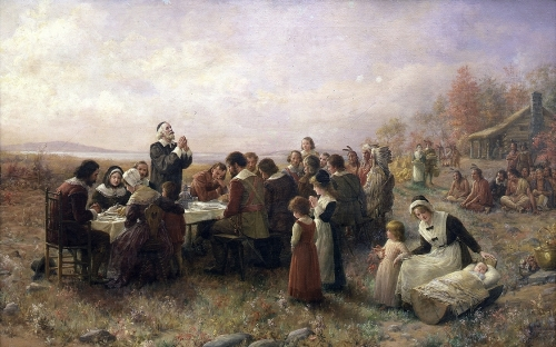 The first joint Thanksgiving as envisioned by artist Jennie Augusta Brownscombe (1850-1936)